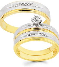 Buy Cara sterling silver and  certified Swarovski stone Gold Polish and Silver studs Couple Bands engagement-gift online