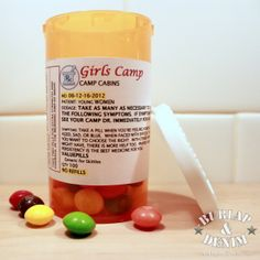 Our cute camp director last year (Nancy Christiansen) thought up a great idea. Camp Value Pills (aka Skittles). They came in value colors and were the perfect pick me up when girls were feeling blue. Nancy bought the pill bottles from a local pharmacy. I took her text and turned it into a