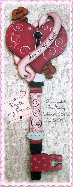 E PATTERN - Key to My Heart! Large, Fancy Key with Ribbon & Swirls! Great for Weddings, Bridal Showers, Anniversaries, Valentine's Day, etc... Designed & Painted by Sharon Bond.