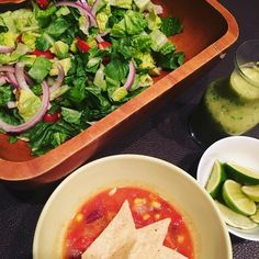 I am keeping it light and fresh for dinner tonight with homemade tortilla soup and a romaine salad with an #oilfree avocado dressing #healthyeating #plantbased #dinnerisserved