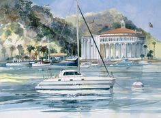 This is one of my commissioned Boat Portrait Paintings. The owner wanted me to paint the Casino at Catalina Island in the background, even though the boat was still in Germany. Original watercolor …