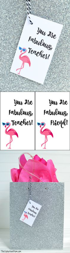 Thank a fabulous teacher or friend with a free flamingo printable gift tag. Adorable pink flamingo wearing sunglasses, perfect for an end of the year gift or birthday present.