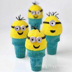 Kids will go bananas over these Ice Cream Cone Minions made with homemade no churn banana ice cream. Recipe at HungryHappenings.com