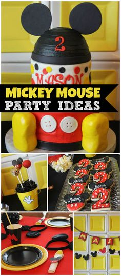What a fun Mickey Mouse party! Nice paper plate backdrop! See more party planning ideas at CatchMyParty.com!