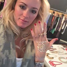 Amber Warren wearing flash tattoos from Veruca Salt
