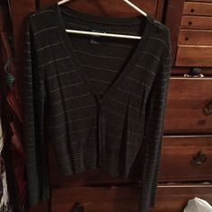 Dark gray striped cardigan Only worn once, not itchy, and very comfortable American Eagle Outfitters Tops