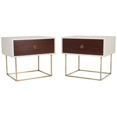 Quadrar Leather & Brass Side Table or Night Stand by Thomas Hayes Studio | 1stdibs.com