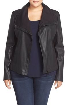 T Tahari Drape Collar Featherweight Leather Jacket (Plus Size) available at #Nordstrom