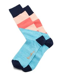 Arthur George by Robert Kardashian Halved Large-Stripe Men's Socks, Aqua - Neiman Marcus