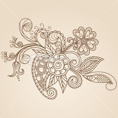 Hand-Drawn Abstract Henna Mehndi Flowers and Paisley Royalty Free Stock Vector Art Illustration