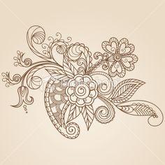 Hand-Drawn Abstract Henna Mehndi Flowers and Paisley Royalty Free Stock Vector Art Illustration