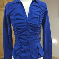 H&M Ruched Blue Top Bright blue ruched buttin up top. The ruching is all over the front. Size is 6. H&M Tops Button Down Shirts