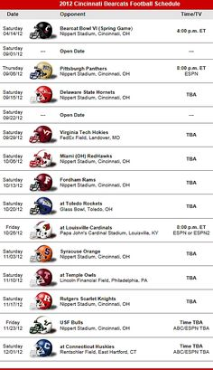 Cincinnati Bearcats Football 2012 Schedule