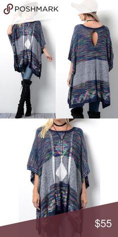 XX KIMIA textured poncho style print top - NAVY NEON GEOMETRIC PRINT TOP  50% ACRYLIC 50% POLYESTER. NO TRADE, PRICE FIRM Bellanblue Tops