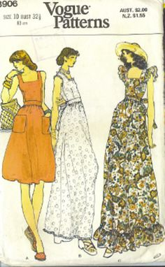 70s style maxi dress pattern. I had this and my grandmother made me the one with the ruffle.