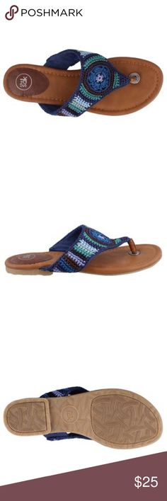 Shana Crochet Thong Sandal The perfect summer look! Woven fabric upper Thong style sandal for an easy on and off Fabric strap lining Padded footbed for added comfort 1/2 inch heel Textured manmade outsole The Sak Shoes Sandals