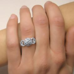 I LOVE THIS.. VINTAGE! 090 carats Round Cut Diamond Engagement Ring 14k by ldiamonds, $1219.00