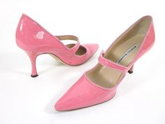 I was just thinking I needed a light pink pair!!!  MANOLO BLAHNIK Pink Patent Leather Pointed Toe Mary Janes Pumps Sz 35.5 5.5 at www.ShopLindasStu...