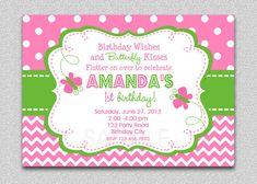 Chevron Butterfly Birthday Invitation Butterfly Birthday Party