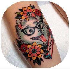 Old school dog portrait tattoo on hand. Retro glasses and flowers are hot! Home Tattoo, Tatoo Art, Color Tattoo, Fun Tattoo, Dog Tattoos, Animal Tattoos, Body Art Tattoos, Sleeve Tattoos, Hand Tattoos For Women