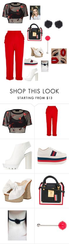 """""""Untitled #315"""" by ericap61720 ❤ liked on Polyvore featuring River Island, Qupid, Gucci, Paloma Barceló, Thom Browne, Moonchild, Loewe and Balenciaga"""