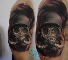 Gas Mask Drawing, Gas Mask Art, Masks Art, Gas Mask Tattoo, Knight Tattoo, Trash Polka, Tattoo Designs, Tattoo Ideas, Tattoo Photos