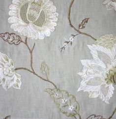 Cymbeline Fabric A grey linen fabric with an embroidered floral design in teal, antique gold and white.