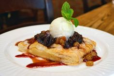 Pear and Frangipane Galette, lemon glazed pear and almond cream filled pastry with fig compote and GVG orange-cardamom ice craem | Green Valley Grill Menu - Greensboro NC
