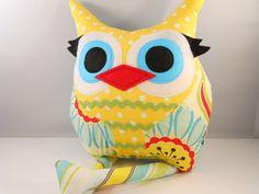 handmade stuffed toy owl pillow owl plush b e l l a m i n a' s owl pillow. $32.00, via Etsy.