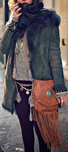 Boho Bag, Leather and Fringe | American Hippie Bohemian Style #american