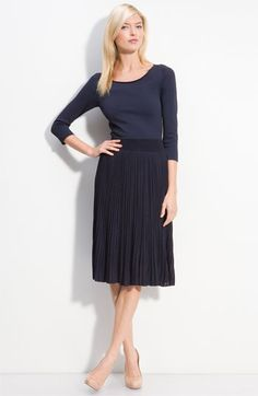 Nordstrom Rachel Roy Pleated Skirt Dress in Navy. For work. After 20 lbs off, a… Accordion skirt Summer Chiffon Skirt, Pleated Skirt, Dress Skirt, Midi Skirt, Work Fashion, Skirt Fashion, Simple Dresses, Dresses For Work, Summer Dresses