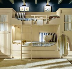 I love the navy blue color with white furniture.. I would love to do this to my office!