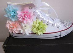 shoes wots-hot-right-now converse custom shoes high top sneakers sneakers white sneakers sneakers white customised custom made customized flowered shoes lace up lace up sneakers designer shoes girls sneakers girly sneakers pink pumps Baby Converse, Custom Converse, Converse Style, Converse All Star, Custom Shoes, Girls Sneakers, Girls Shoes, White Sneakers, Rhinestone Converse