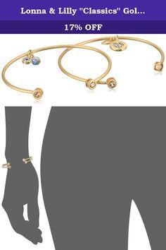 "Lonna & Lilly ""Classics"" Gold-Tone Multi-Bangle Bracelet. Charm: 0.51"" L x 0.39"" W; Made in China. Gold-Tone Multi Bangle Set. Imported."