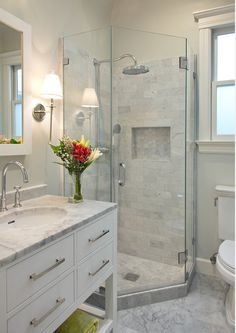 Enchanting Master Bathroom Shower Design Ideas Calming White Marble Small Bathroom Design Ruth In 2019 Bathroom Bathroom Design Small Basement Bathroom Modern Shower, Transitional Bathroom, Transitional Decor, Glass Shower Doors, Glass Corner Shower, Corner Shower Stalls, Glass Showers, Small Shower Stalls, Glass Doors