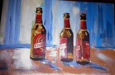 Botellas, Cervezas, Cruzcampo, Acrílico by Pepa Polo