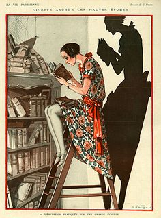 La Vie Parisienne Magazine plate Image Courtesy of The Advertising Archives: http://www.advertisingarchives.co.uk Vintage, illustrations, covers, artwork, Retro, French magazines, Art Deco, Art Nouveau, 1920s, Georges Pavis, reading, books, libraries