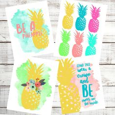 Be A Pineapple SET of 4  Bright Watercolor Summer Farmhouse Country Cottage Digital Print INSTANT DOWNLOAD