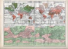 Unique and colorful Isotherms Isobars Thermodynamic Weather Map from a  French 1898-1904 Nouveau Larousse encyclopedia.  $14