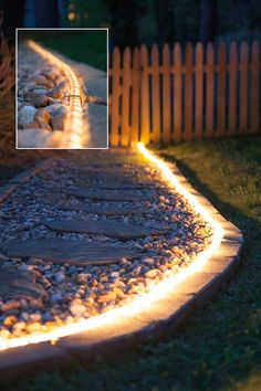 The Best 21 DIY Lighting Ideas for Summer Patio and Yard Set up rope lights along the path to highlight your front yard landscape. The post The Best 21 DIY Lighting Ideas for Summer Patio and Yard appeared first on Outdoor Diy. Outdoor Garden Lighting, Outdoor Light Fixtures, Garden Lighting Ideas, Outside Lighting Ideas, Lighting For Gardens, Solar Garden Lights, Outdoor Landscaping, Front Yard Landscaping, Landscaping Ideas