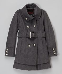 Another great find on #zulily! Charcoal Trench Coat - Girls by Yoki #zulilyfinds