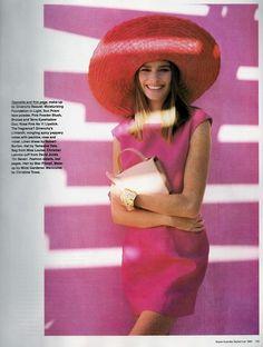 'Rethink Pink' CAROL JACKSON- ANNELIESE SEUBERT- VIRGINIA GRAHAM- EMMA BALFOUR Australian Vogue Editorial September 1990