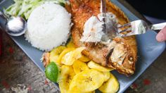 Explore the once-seedy, newly-hip neighborhood of Getsemani for it's nightlife and burgeoning food scene. Here you can enjoy typical Colombian coastal cuisine like this Pescado Frito from Tree House Hostel, for under $6.