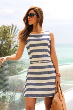 Love, love the style of this dress but not in the horizontal stripe. Would be great for summer weekend nights out.