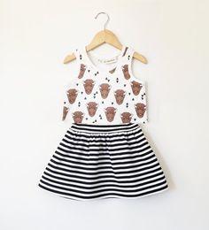 2-piece set featuring a black & white striped skirt & a fun bison print tank!