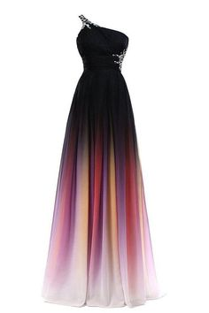 Gradient Chiffon One Shoulder Backless New Prom Dress Evening Gowns LD159