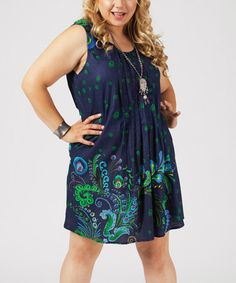 Love this Navy & Green Abstract Sleeveless Dress - Plus on #zulily! #zulilyfinds