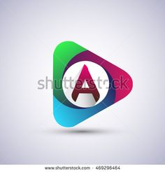 logo letter A colorful icon in the triangle shape, Vector design template…