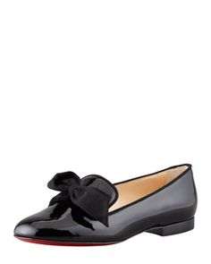 """""""Gine"""" ~ Black Patent Leather Bow Slipper by Christian Louboutin @ Bergdorf Goodman."""