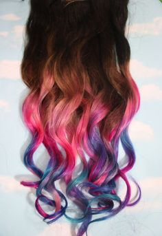 Not quite sure why, but I really kind of want some of these!   FOR PURCHASE  Lauren Conrad inspired pastel tie dye hair tops for brunettes. Bored of your hair color and need a change? These fun clip in hair extensions give you the pop of color wit